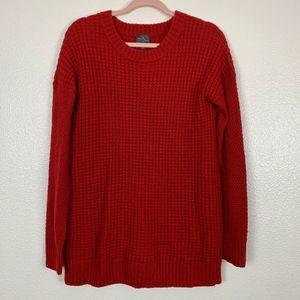 Market & Spruce Red Wool Knit Long Sleeve Sweater
